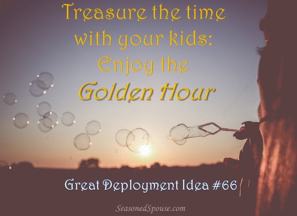 Spend quality time with your kids in the afternoon, between school and dinner. Here is one of our favorite deployment traditions. www.seasonedspouse.com