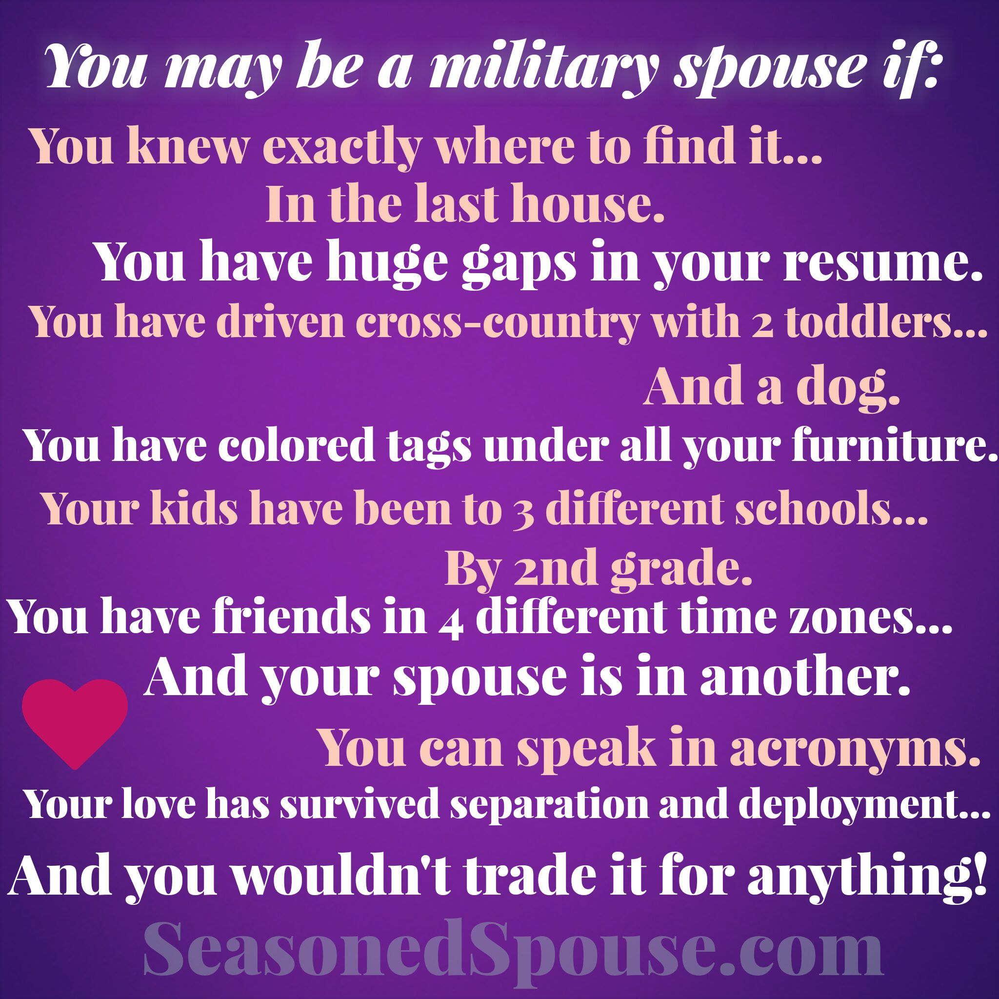 Have you gone through a cross-country move? Have the kids changed schools more than once? Do you track different time zones? Then you might be a military spouse! Share these other fun anecdotes about the life we love. #milspouse