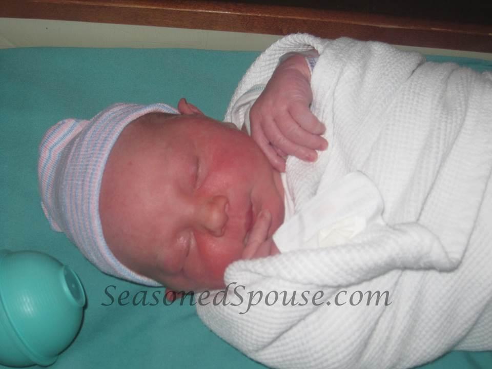 Newborn baby, born during a deployment in a hurricane