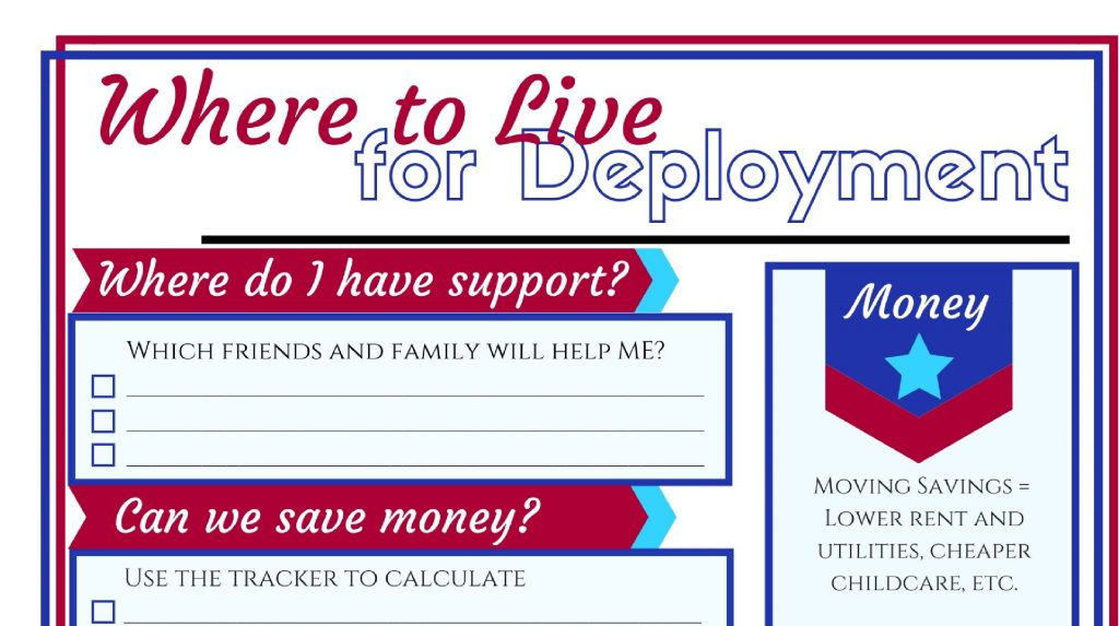 This worksheet from the Ultimate Deployment Guide will help you decide where to live during deployment.