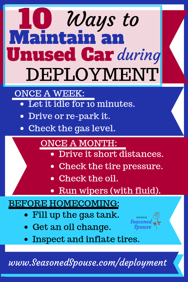 Use these tips to maintain parked cars during deployment and avoid dead batteries or flat tires!
