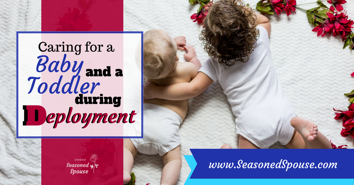 Military spouses, here are ideas for taking care of both a baby and a toddler during deployment. #ThisisDeployment